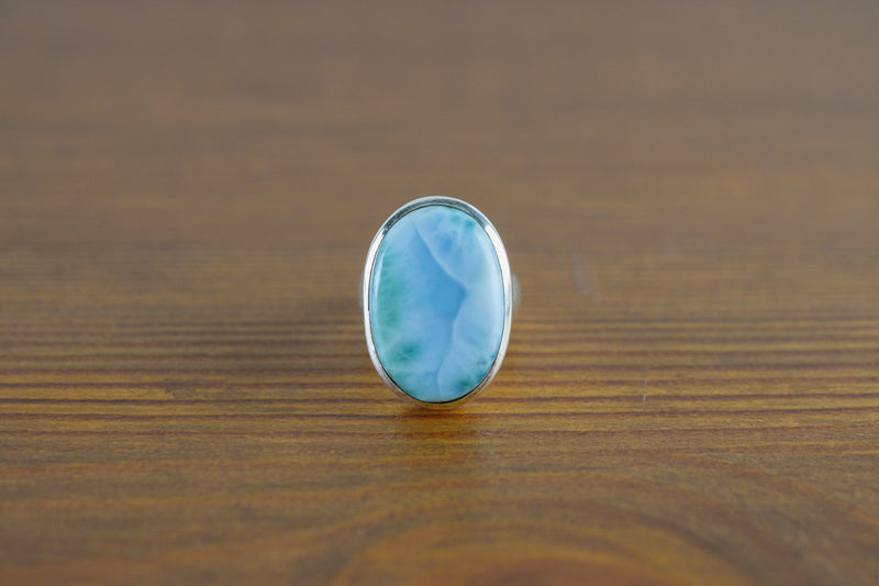 925 Silver Oval Round Small Larimar Ring