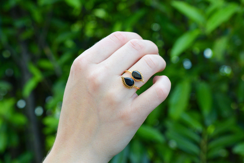 925 Gold-Plated Silver Black Onyx Swirl Ring