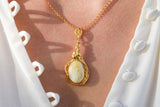 925 Silver Gold-Plated White Amber Flower Pendant