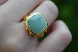 925 Gold-Plated Silver Square Aventurine Ring