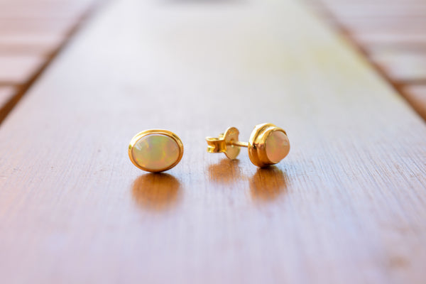 925 Gold-Plated Silver Precious Opal Stud Earrings