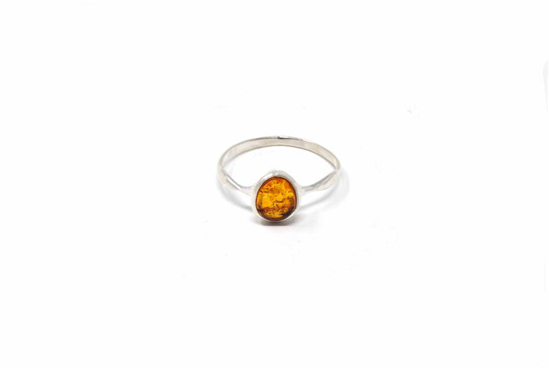 925 Silver Cognac Amber Small Oval Ring