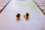 925 Silver Gold-Plated Smoky Quartz Stud Earrings