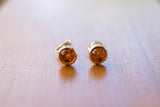 925 Silver Small Cognac Amber Stud Earrings