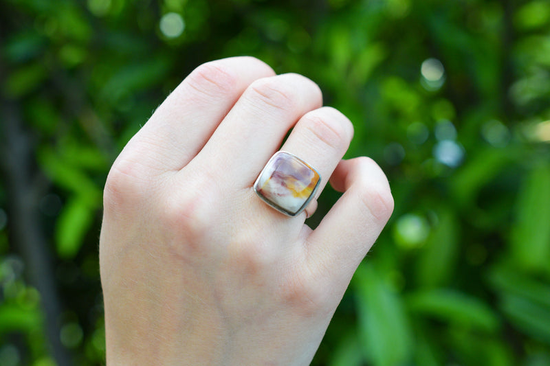 925 Silver Rectangular Mookaite Ring