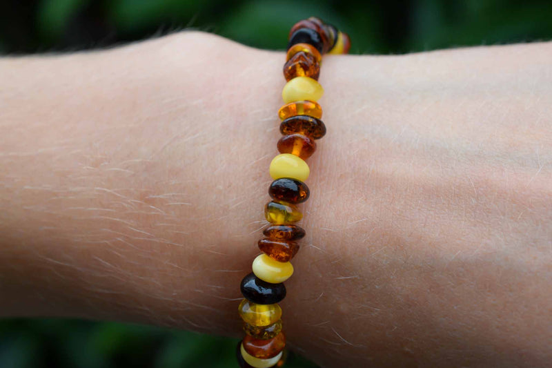 Multicoloured Amber Chips Bracelet 4-6mm