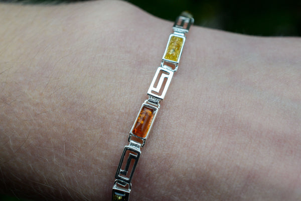 925 Silver Decorated Multicoloured Amber Bracelet