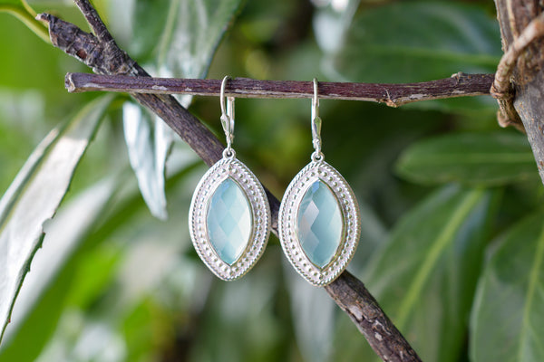 925 Silver Diamond-Shaped Aqua Agate Earrings