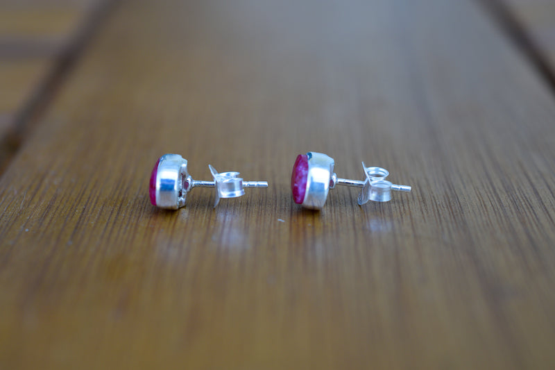 925 Silver Medium Stud Ruby Earrings