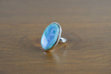 925 Silver Oval Round Medium Larimar Ring