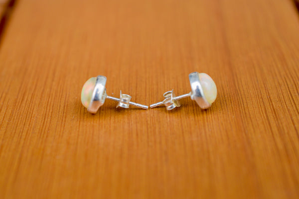 925 Silver Precious Opal Stud Earrings