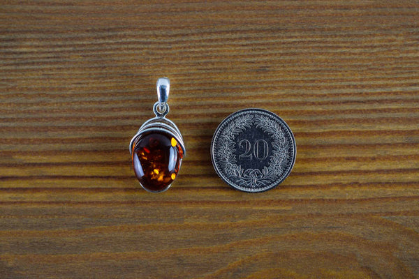 925 Cognac Amber Drop-Shaped Decorated Pendant