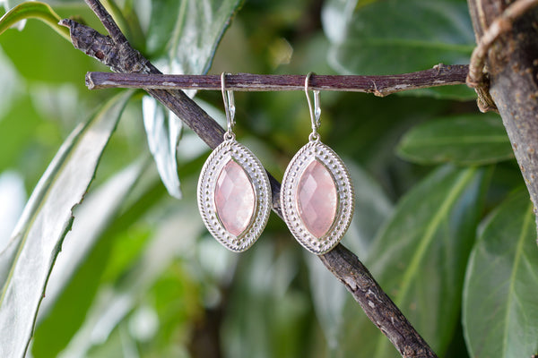925 Silver Diamond-Shaped Pink Agate Earrings