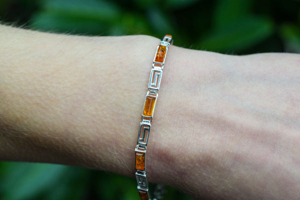 925 Silver Decorated Cognac Amber Bracelet