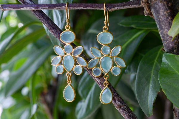 925 Gold-Plated Aqua Agate Dangling Earrings