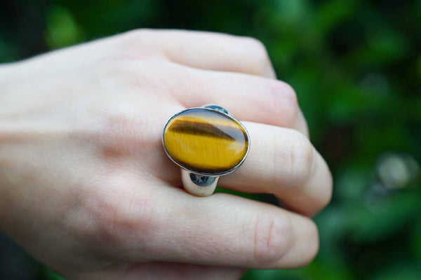 925 Silver Tiger's Eye Large Oval Decorated Ring