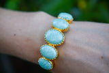 925 Silver Gold-Plated Claw Amazonite Bracelet