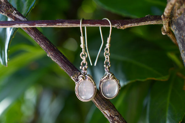 925 Silver Dangling Decorated Rose Quartz Earrings