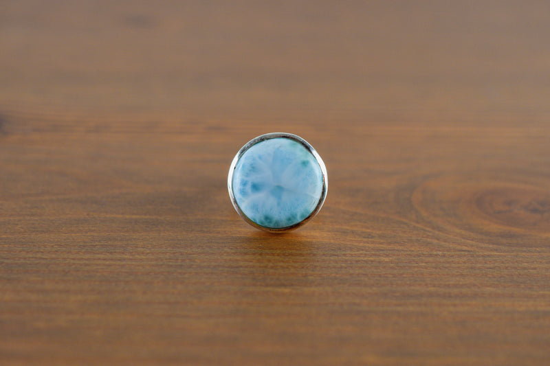 925 Silver Small Round Larimar Ring