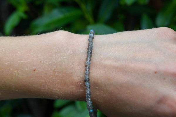 925 Silver Faceted Labradorite Adjustable 4-6 mm Bracelet