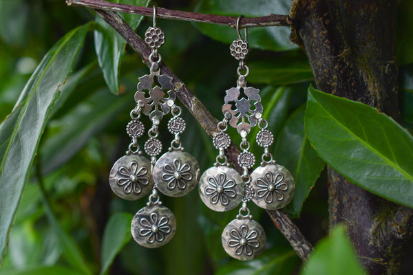 925 Silver Mughal Style Dangling Earrings