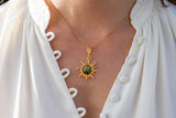 925 Silver Gold-Plated Sun-Shaped Green Amber Pendant