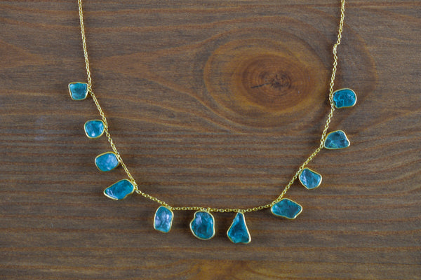 925 Gold-Plated Adjustable Silver Aquamarine Necklace