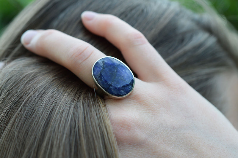 925 Silver Large Faceted Sapphire Ring