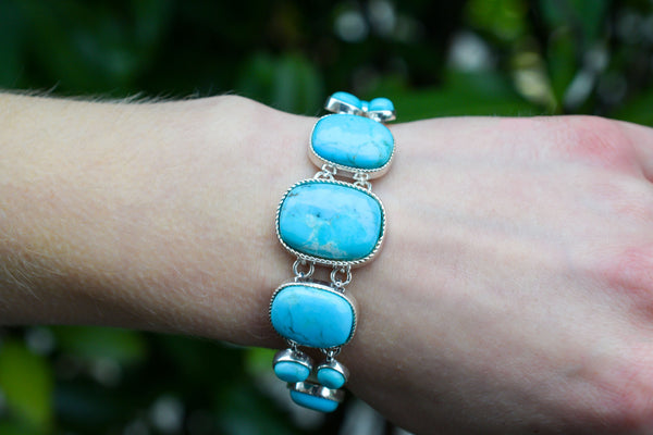 925 Silver Decorated Circle, Rectangle and Drop-shaped Turquoise Bracelet