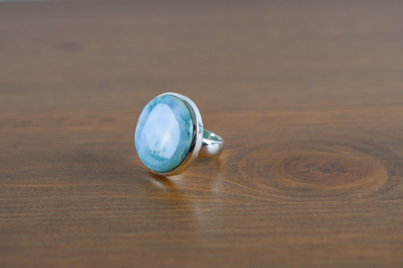 925 Silver Oval Round Large Larimar Ring