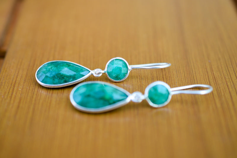 925 Silver Drop and Circular Faceted Emerald Earrings