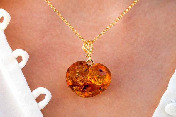 925 Gold-Plated Silver Cognac Amber Heart Pendant