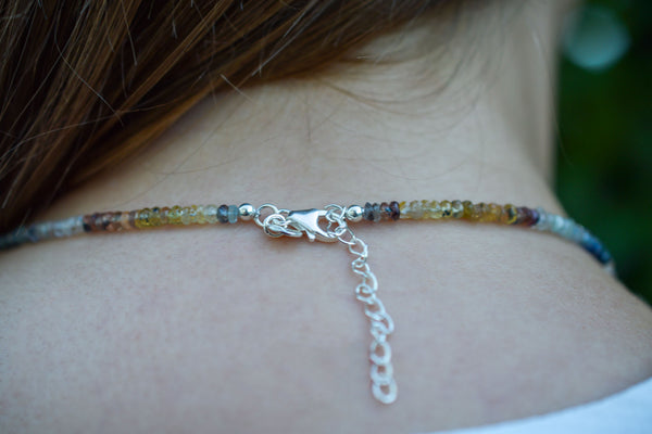 925 Silver Multicoloured Sapphire and Ruby Necklace
