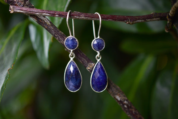 925 Silver Drop and Circular Faceted Sapphire Earrings