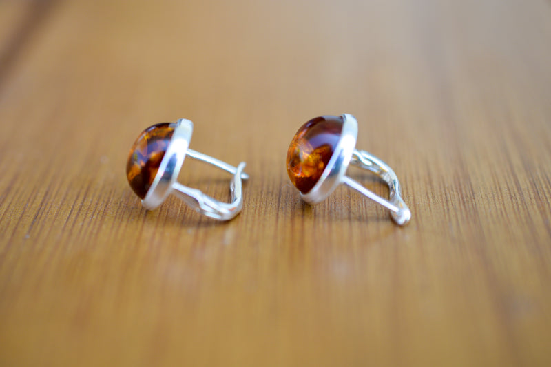 925 Silver Large Cognac Amber Stud Earrings