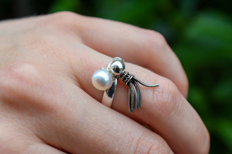 925 Silver Cultured Pearl Dangling Ring