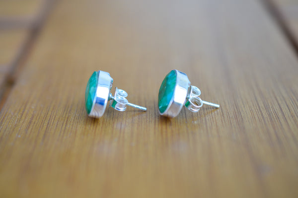925 Silver Large Stud Emerald Earrings