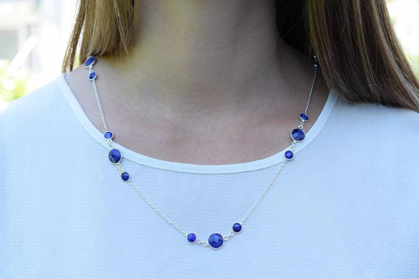 925 Silver Sapphire Wrap Around Necklace