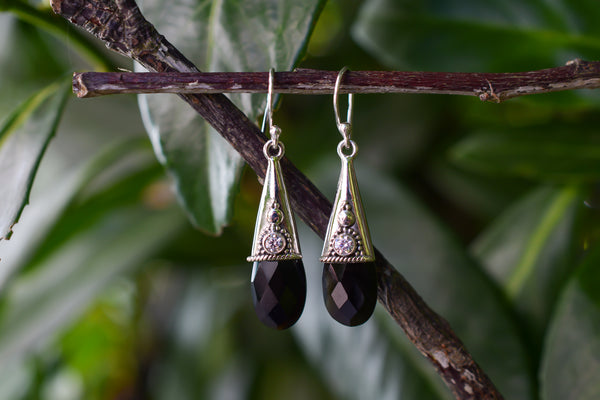 925 Silver Faceted Black Onyx and Zirconia Drop Earrings