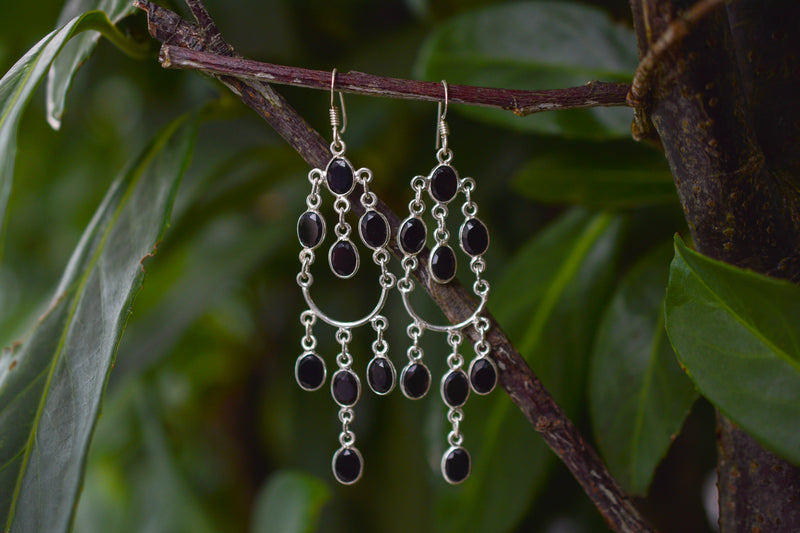 925 Silver Dangling Eight Black Onyx Earrings