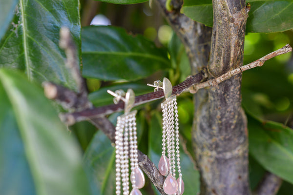 925 Silver Pink Agate Dangling Drop-Shaped Earrings
