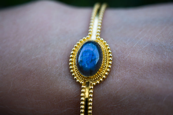 925 Silver Gold-Plated Decorated Labradorite Bracelet