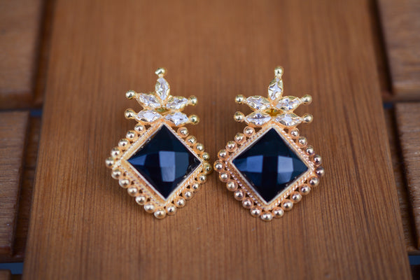 925 Silver Gold-Plated Facetted Black Onyx Stud Earrings
