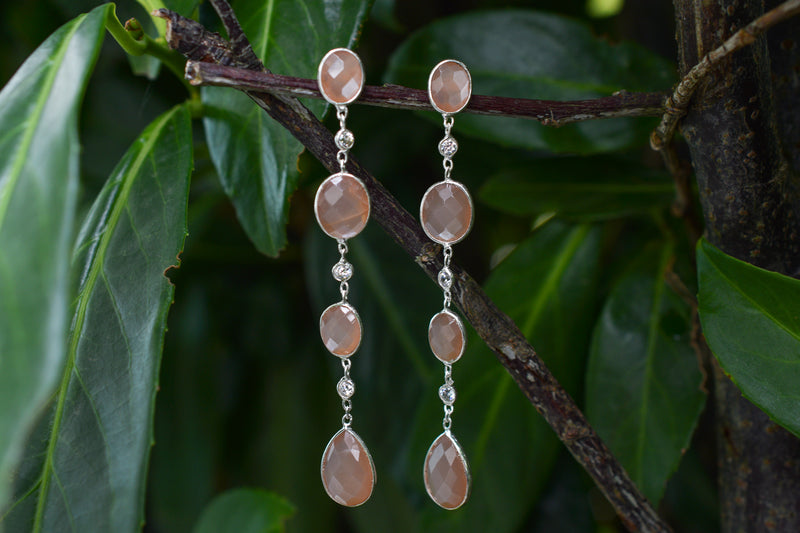 925 Silver Chocolate Moonstone and Zirconia Dangling Earrings