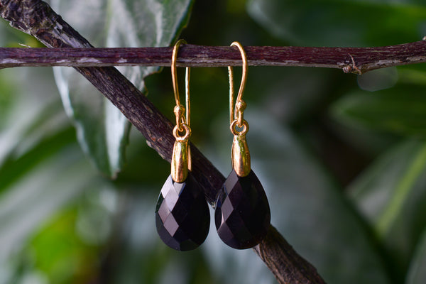 925 Silver Gold-Plated Black Onyx Drop Earrings