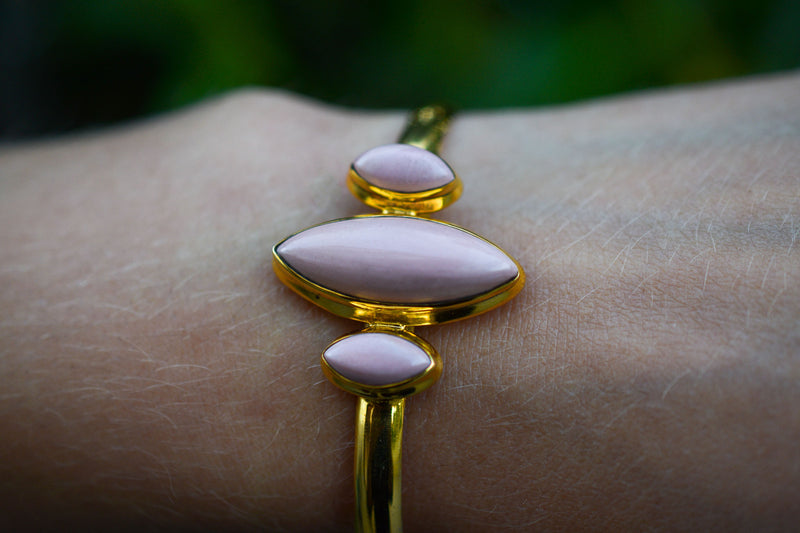 925 Silver Gold-Plated Pink Opal Diamond-Shaped Bracelet