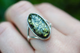 925 Silver Large Oval Green Amber Ring