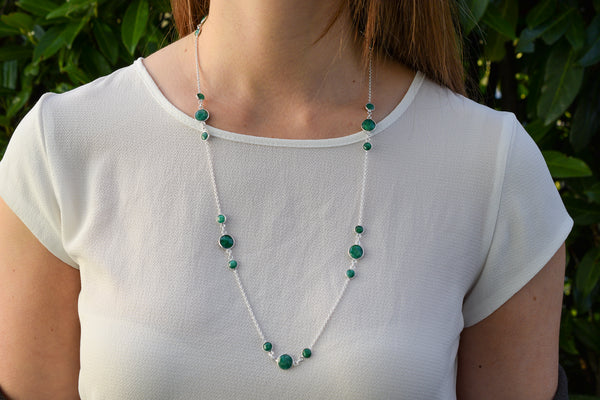 925 Silver Emerald Double Wrap Around Necklace