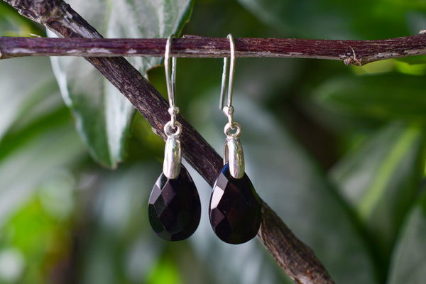 925 Silver Black Onyx Drop Earrings