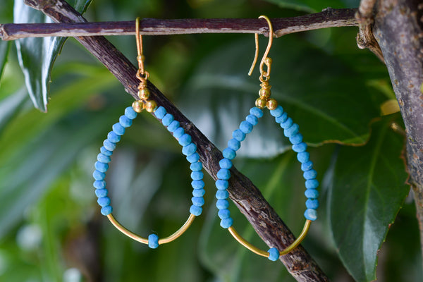 925 Silver Gold-Plated Reconstituted Turquoise Earrings